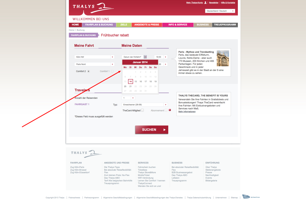 Thalys Frühbucher Rabatt Buchung 1