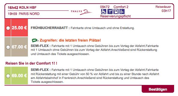 Thalys Frühbucher Rabatt Buchung 2