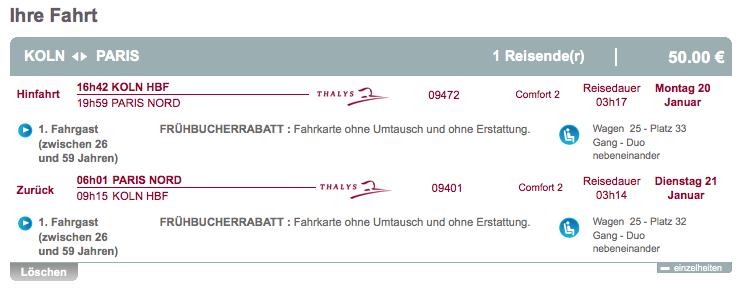 Thalys Frühbucher Rabatt Buchung 3