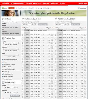 Der Sparpreis-Finder der Deutschen Bahn