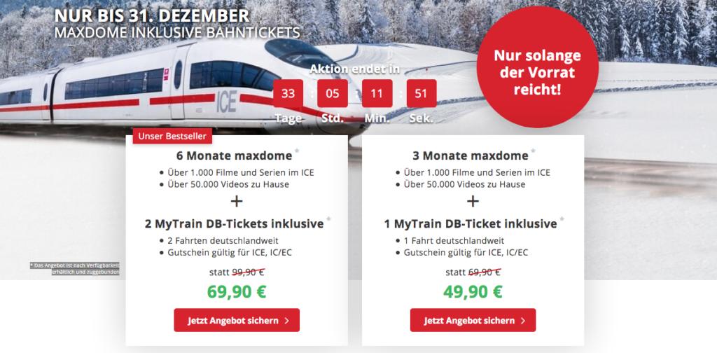 MyTrain DB-Ticket Angebote Übersicht